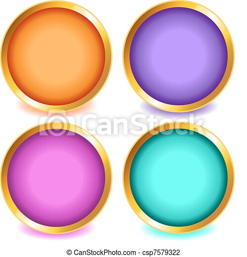 Colorful buttons with gold bevel-set2 - csp7579322