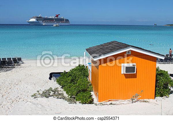 Colorful Cabana on tropical beach - csp2554371