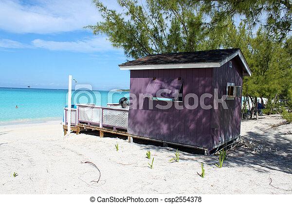 Colorful Cabana on tropical beach - csp2554378