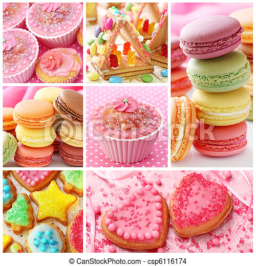 Colorful cakes collage - csp6116174