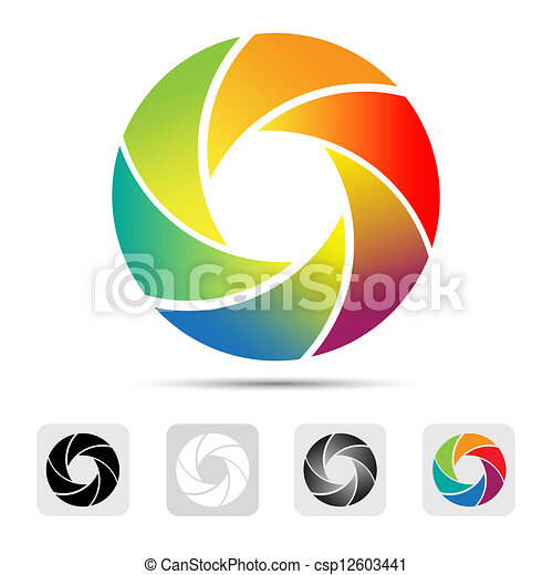 Colorful camera shutter logo ,Illustration. - csp12603441