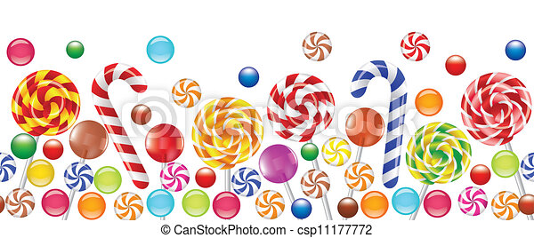 colorful candies, fruit bonbon, lollipop  - csp11177772
