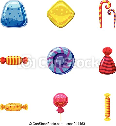 Colorful candy icons set, cartoon style - csp49444631