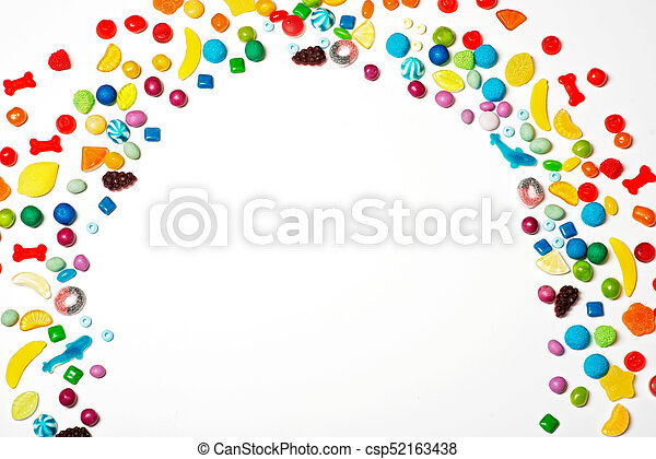 Colorful candy rainbow on white background - csp52163438