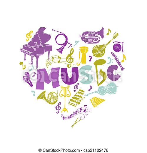 Colorful Card with Music Instruments - hand drawn in vector - csp21102476