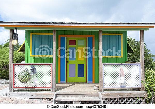 Colorful Caribbean House - csp43753481
