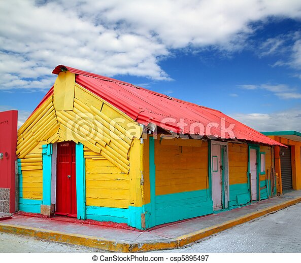 colorful Caribbean houses tropical Isla Mujeres - csp5895497