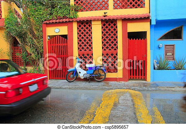 colorful Caribbean houses tropical Isla Mujeres - csp5895657