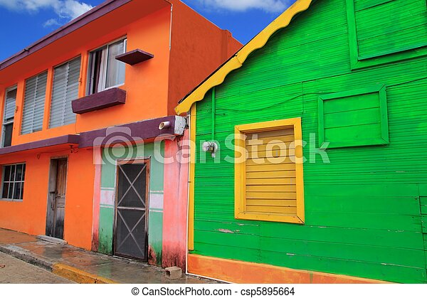 colorful Caribbean houses tropical Isla Mujeres - csp5895664