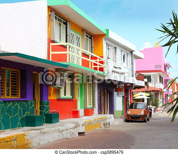 colorful Caribbean houses tropical Isla Mujeres - csp5895479