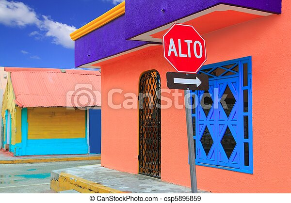 colorful Caribbean houses tropical Isla Mujeres - csp5895859