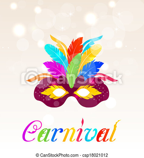 Colorful carnival mask with feathers with text  - csp18021012