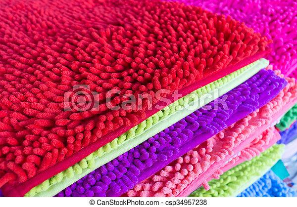 colorful carpet softness texture of doormat, close-up image - csp34957238