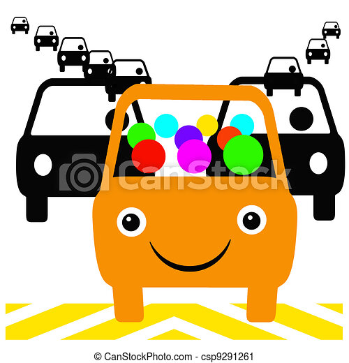 colorful carpool orange bus with passengers in traffic clipart rh canstockphoto com carpool clipart