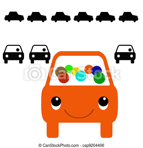 colorful carpool orange bus with passengers in traffic stock rh canstockphoto com  carpool clipart free