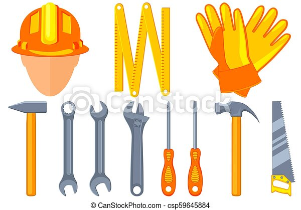 Colorful cartoon 11 handyman tools set - csp59645884