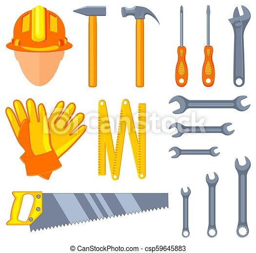 Colorful cartoon 15 handyman tools set - csp59645883