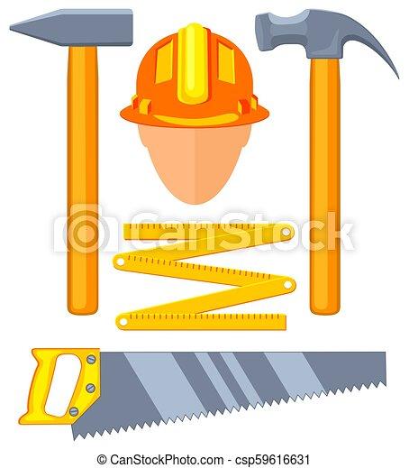 Colorful cartoon 5 handyman tools set - csp59616631