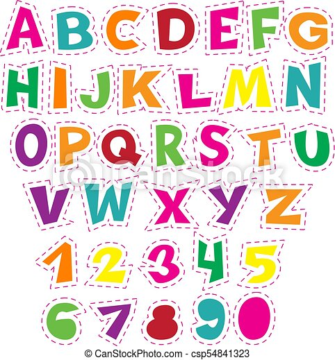 Colorful cartoon alphabet for children. Vector educational collection of letters and numbers. - csp54841323
