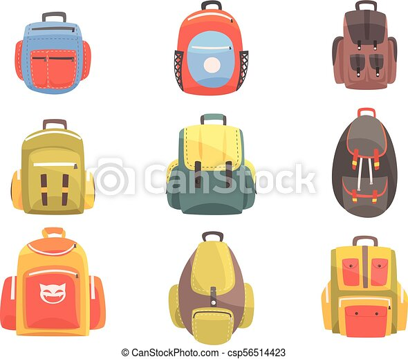 04527aeb35 Colorful cartoon backpacks set of school bag for kids designs. handbag  bright color collection of vector illustrations with touristic hand luggage  items.