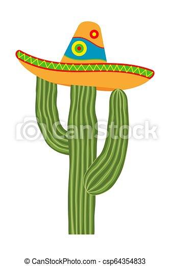 Colorful Cartoon Cactus In Sombrero Hat Fiesta Carnival Mascot Mexico Theme Vector Illustration For Icon Stamp Label