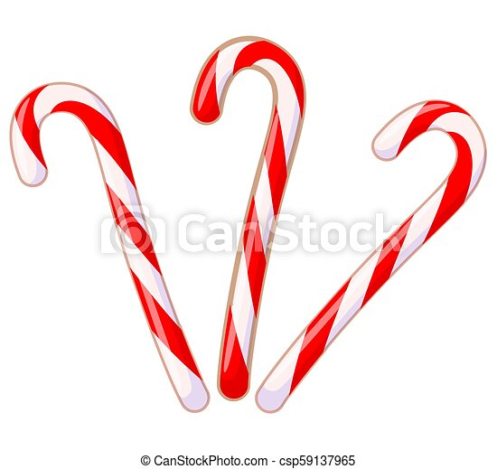 Colorful cartoon candy cane set - csp59137965
