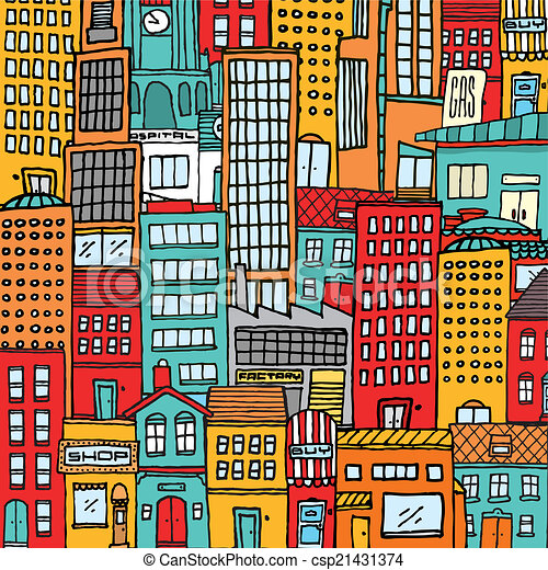 Colorful cartoon city texture background - csp21431374