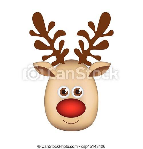 colorful cartoon cute face reindeer animal vector illustration rh canstockphoto com cartoon reindeer face images cartoon rudolph face