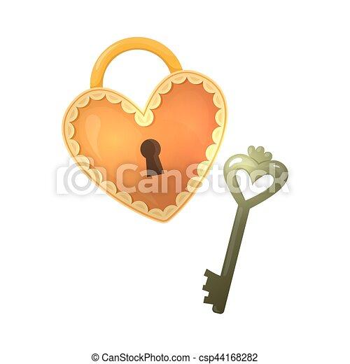 Colorful Cartoon Heart Shape Lock And Key Colorful Cartoon