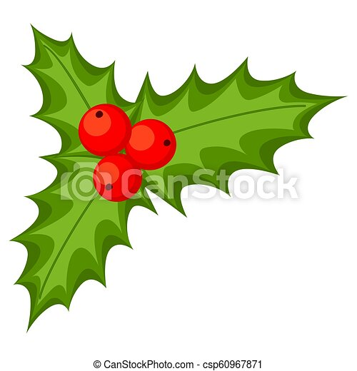 Christmas Holly Cartoon.Colorful Cartoon Holly Berries