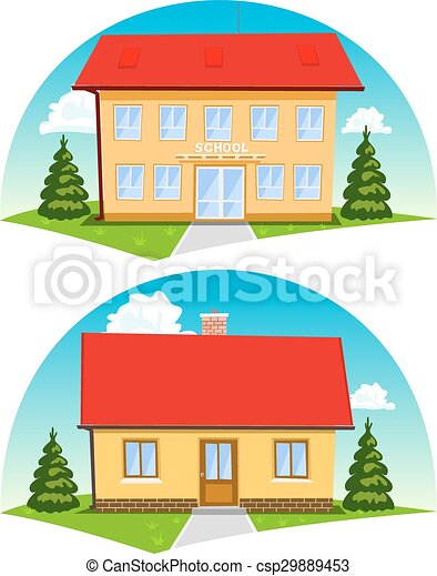 Colorful cartoon houses on white background. Vector - csp29889453