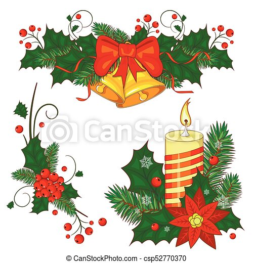 Christmas Bells.Colorful Cartoon Illustration Of Christmas Bells On White Background Vector