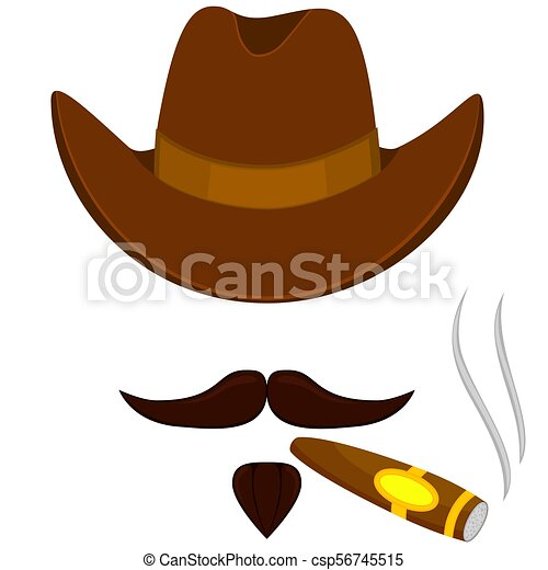 f50a9678 Colorful cartoon smoking cowboy avatar. stetson hat sigar, moustache ...