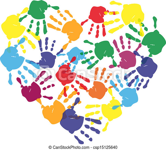 Colorful child hand prints in heart shape - csp15125640
