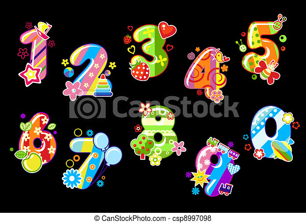 Colorful children numbers and digits - csp8997098