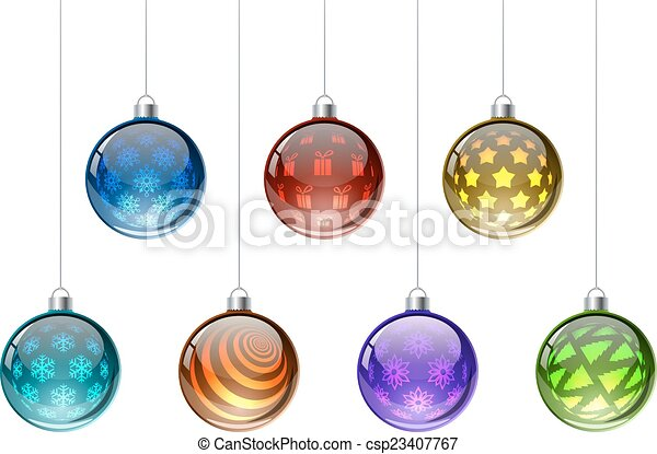Colorful Christmas balls vector set isolated on white background. - csp23407767