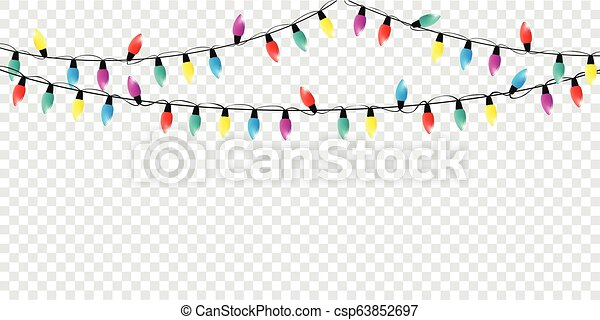 Christmas Fairy Lights Illustration.Colorful Christmas Fairy Lights Decoration Isolated Party Templa