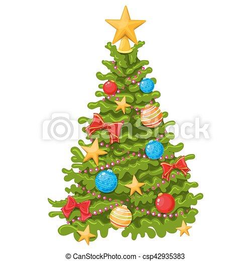 Colorful Christmas Tree Vector.Colorful Christmas Tree