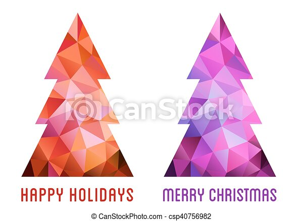 Colorful Christmas trees, vector - csp40756982