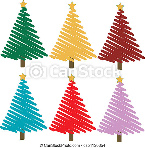 Colorful Christmas Trees Vector Set Of Colorful Christmas Trees
