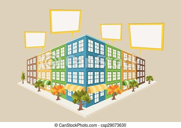 Colorful city block - csp29073630