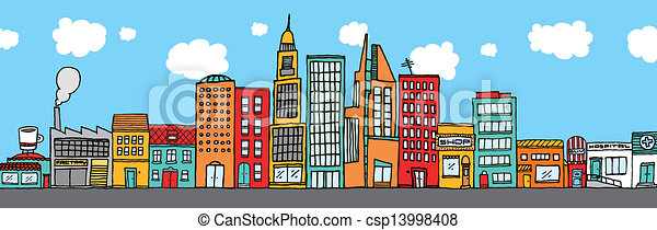 Colorful city skyline - csp13998408