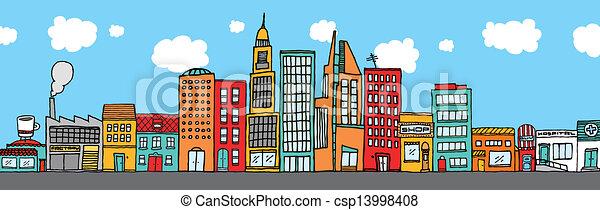 Colorful city skyline - csp13998408