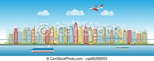 Colorful city skyline with traffic of various vehicles train airplane car ship in flat style, cityscape - csp84206053