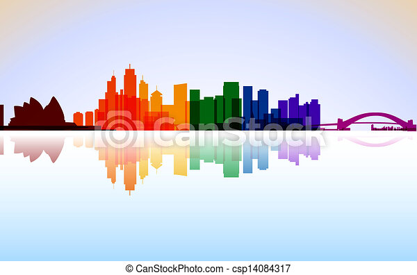 Colorful City Sydney panorama, vector - csp14084317