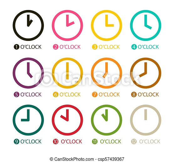 Colorful Clock Icons Set Isolated on White Background. Vector Time Symbols. - csp57439367