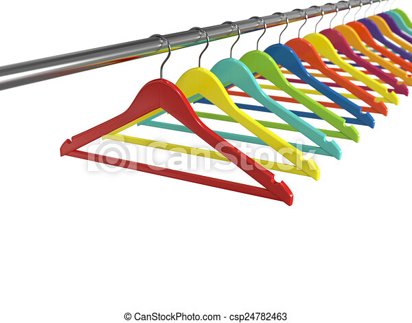 Colorful clothes hangers isolated on white background - csp24782463