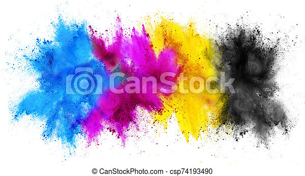 colorful CMYK cyan magenta yellow key holi paint color powder explosion print concept isolated white background - csp74193490