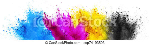 colorful CMYK cyan magenta yellow key holi paint color powder explosion print concept isolated white background - csp74193503