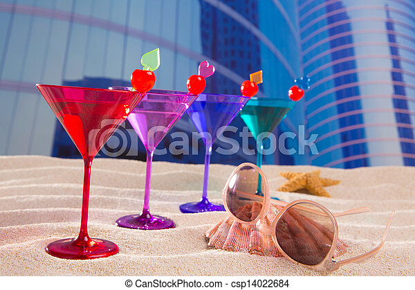 colorful cocktail in a row with cherry sand in urban city - csp14022684